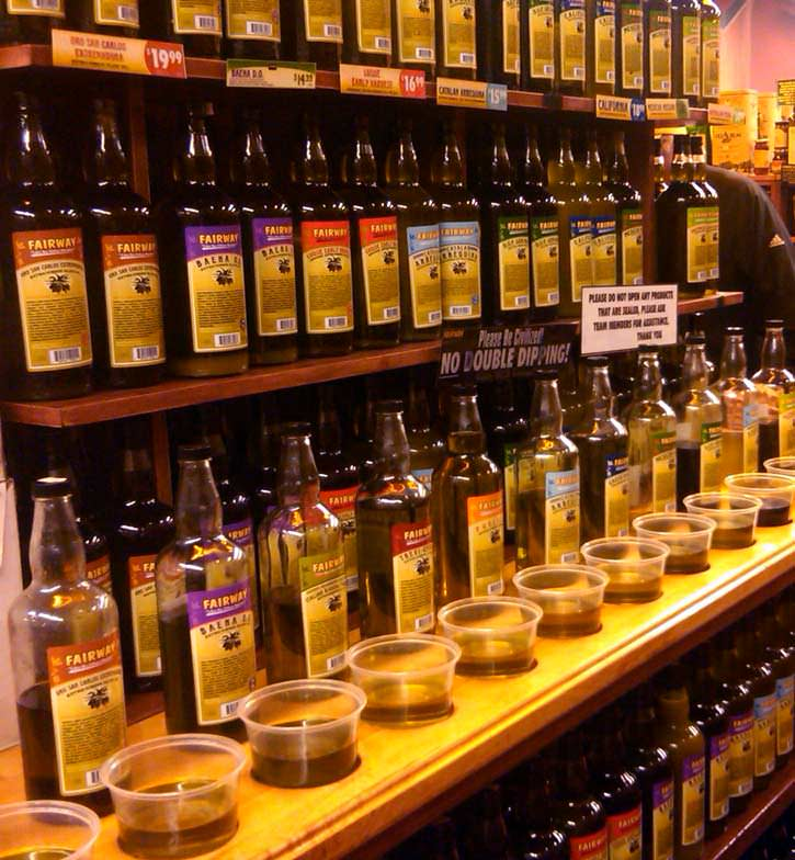 how-fairway-market-sells-so-much-olive-oil-fixture-of-the-new-york-food-scene-fairways-custom-hutch-offers-the-retailers-famous-assortment-of-olive-oils-with-a-warning-to-customers-not-to-quotdouble-dipquot--
